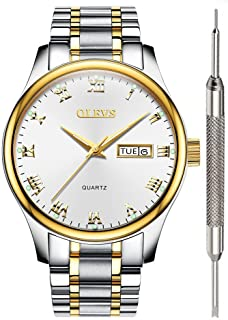 OLEVS Men Women Quartz Business Watch with Stainless Steel Band, Classic Waterproof Watches Roman Numeral Unique Calendar Date Window Wristwatch