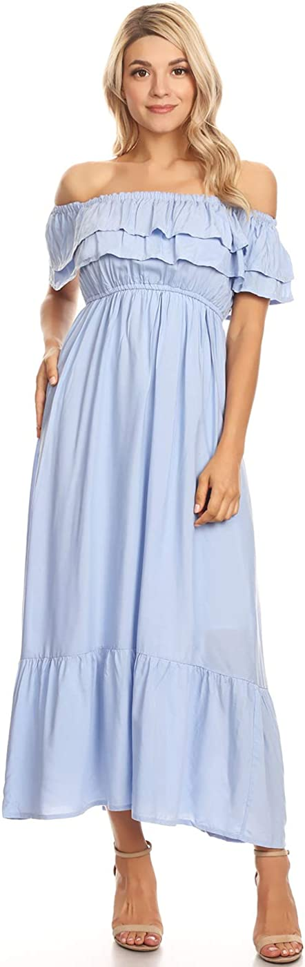 Anna-Kaci Virginia Beach Mall Womens Boho Peasant Ruffle Long Stretchy Short Sleeve Ultra-Cheap Deals