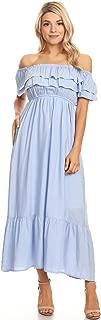 Womens Boho Peasant Ruffle Stretchy Short Sleeve Long Dress