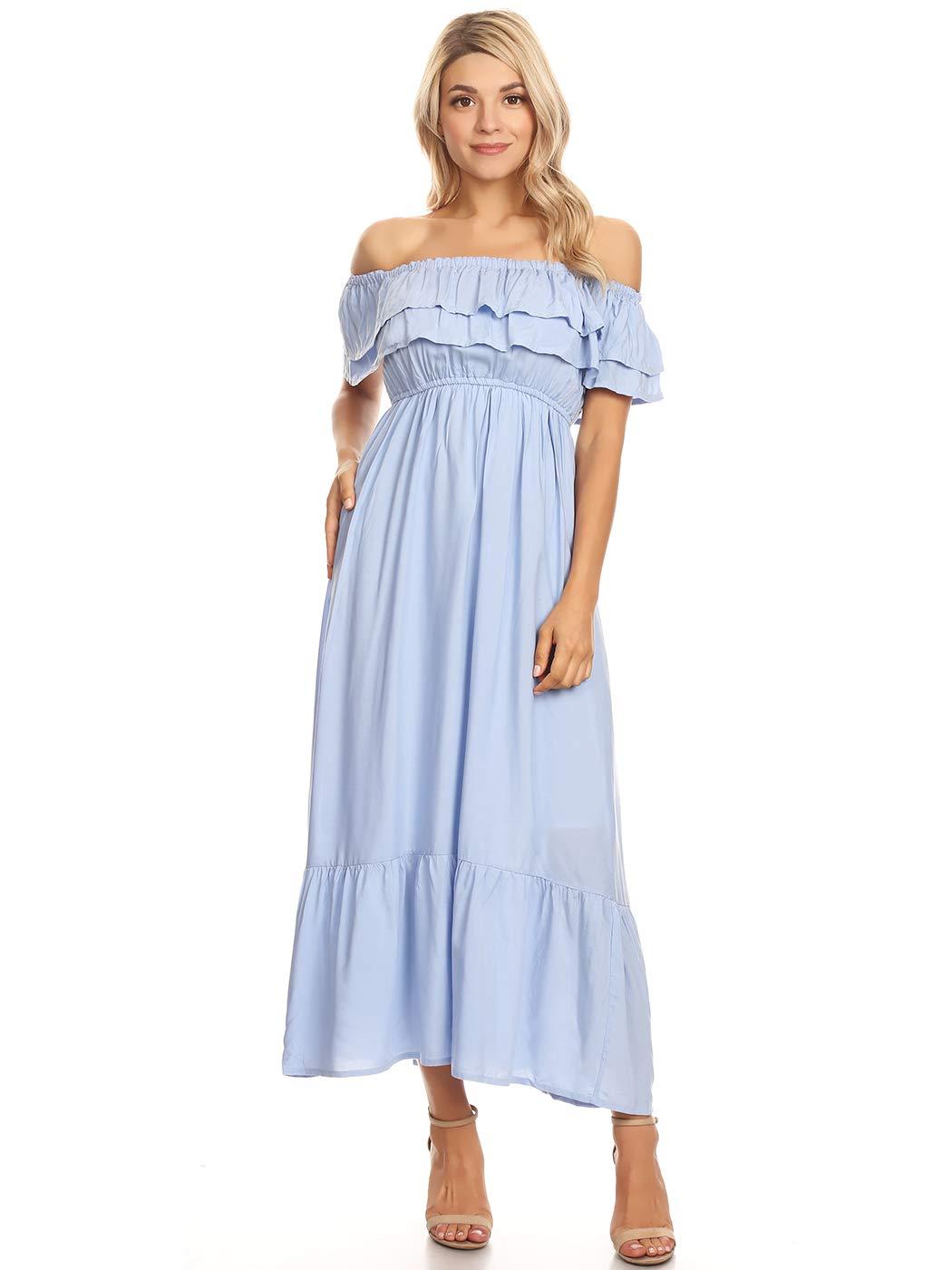 Available at Amazon: Anna-Kaci Women's Boho Peasant Ruffle Stretchy Short Sleeve Long Dress