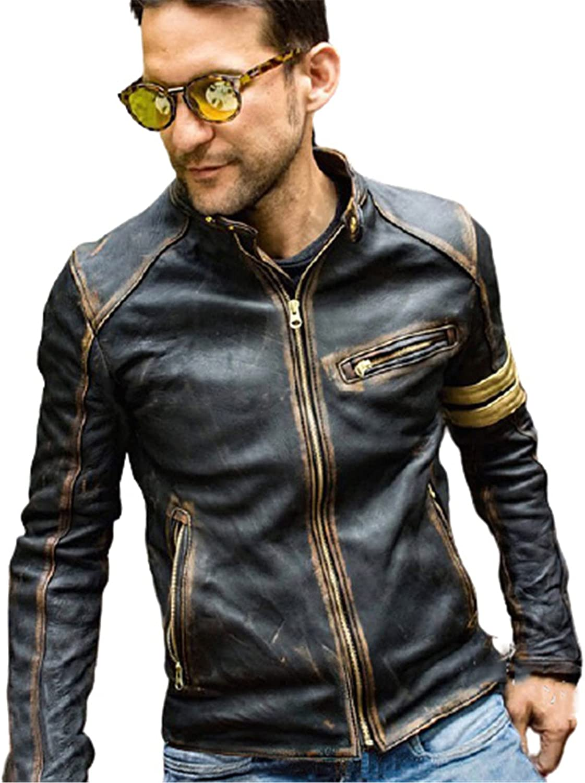 WMJL Men's Casual Zip Up Slim Bomber Faux Leather Jacket Motorcycle Biker Hunt Rock Punk Softshell Overcoat Sportswear,M