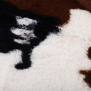 Alfombra Piel de Vaca sintética, 140 x 160 cm Alfombra Piel de Vaca animal felpa antideslizante para dormitorio, sala, baño Alfombra