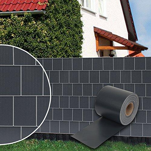 FullBerg 70 m x 19cm PVC Sichtschutzstreifen für Doppelstabmatten Zaunfolie dick Blickdicht Windschutz Zaun mit 30 x Befestigungsclips (Anthrazit RAL7016)
