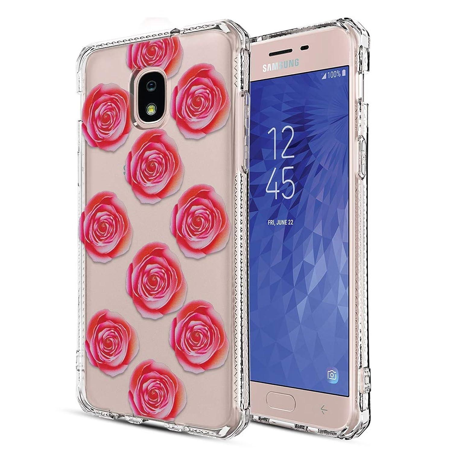Samsung Galaxy J7 2018 Case,J7 Refine/J7 Star/J7 V 2nd Gen/J7 Crown/J7 TOP/J7 Aero /J7 Eon/J7 Aura Phone Case with Shockproof Slim Clear Floral Pattern Soft Flexible TPU Phone Cover,Rose Flower