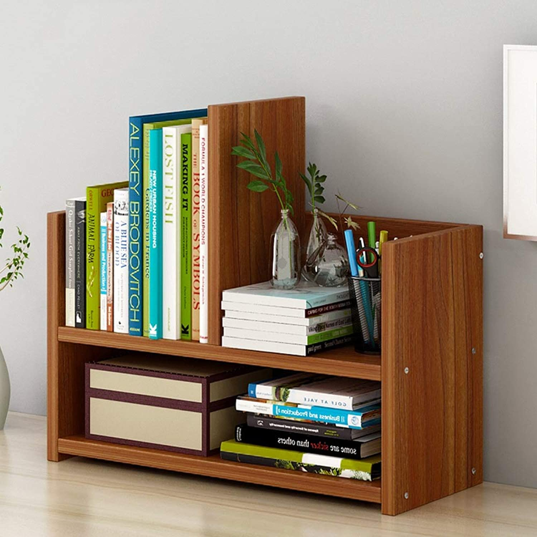 WN - Book Racks Bookshelf - Simple Modern Creative Desktop Small Bookshelf Student Floor Small Bookshelf 43X17X39cm (Three colors Can Choose) (color   Ebony color)