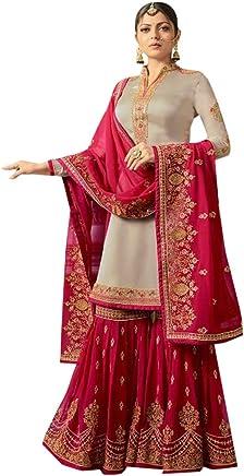b0bf23ba3e SHRI BALAJI SILK & COTTON SAREE EMPORIUM Women's Bridal Wedding Pink Grey Heavy  Embroidery Muslim Sharara