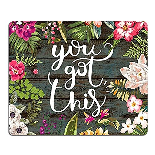 Floral Mouse Pad Motiavation Quote You Got This Neoprene Inspirational Quote Mousepad Office Space Decor Home Office Computer Accessories Mousepads Watercolor Vintage Flower Design