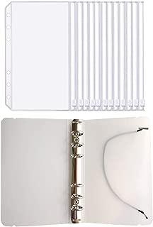 FJCA 12pcs Plastic Clear Binder Envelopes 4 1/5 x 6 3/4 Loose Leaf Bags Budget Envelope System, with Binder Cover