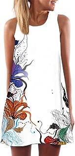 KYLEON Women Dresses Vintage Boho Printed Dress Swing Beach Evening Short Mini Dress Summer Tank T Shirt Casual Sundress