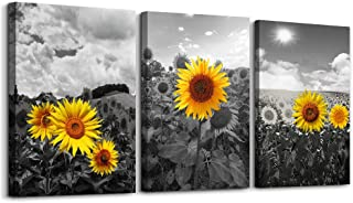 Black and White Pastoral Scenery Sunflower Flowers Canvas Wall Art for Living Room Bedroom Decoration Wall Painting,Bathroom Wall Decor Home Decoration Kitchen Posters Artwork,16x12 inch/ 3 Piece Set