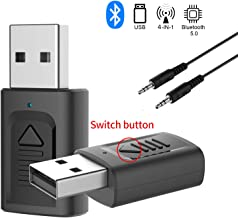 GeekerChip Adaptador Bluetooth USB 5.0,USB Bluetooth Receptor/Transmisor 2 en 1 con Audio 3.5MM Cable para PC/TV/Auriculares/Altavoces/Radio