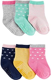 Carter's Ribbed Trim Socks Set for Girls, 6 Pairs - Multi Color, 0-3 Months