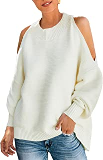 Women's Loose Batwing Sleeve Baggy Solid Crewneck Cold Shoulder Pullover Sweater Knit Jumper Tops