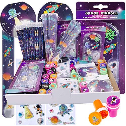 JuniorToys Astronauten-Party 100 Kleinspielwaren - Mitgebsel Wurfmaterial Schultütenfüller Space-Mottoparty Weltraum Kosmonauten
