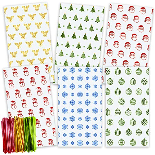 TOMNK Christmas Cellophane Bags 162 Pieces Treat Bags with Twist Ties for Holiday Goody, Party Favors, Cello Candy Bags