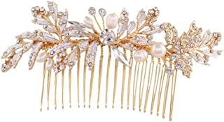 ULAPAN Bridal Hair Comb For Wedding,Wedding Hair Comb With Pearls,Crystals Bridal Hair Comb With Flowers,Golden And Silvery