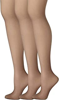 Womens Set of 3 Silk Reflections Control Top Sheer Toe Pantyhose