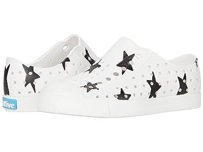 Native Kids Shoes Jefferson Print (Little Kid) (Shell White/Shell White/Jiffy Black Big Star Print) Kids Shoes