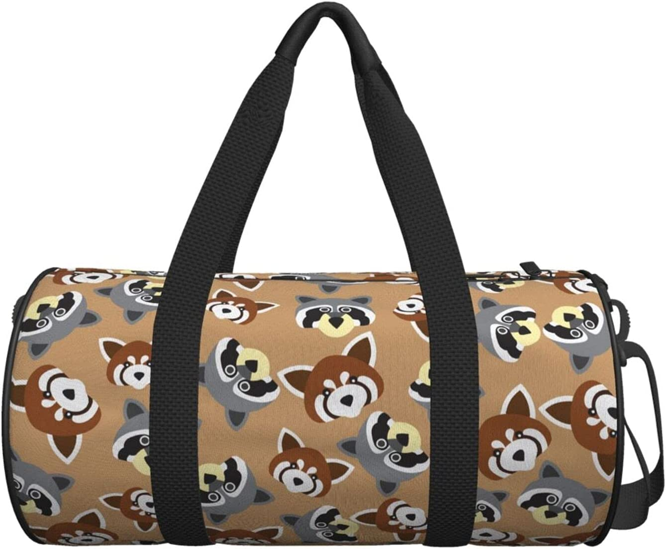 Canvas Duffle Bag Raccoon And Red Travel Duffel B New color New products, world's highest quality popular! Luggage Panda