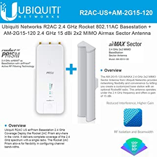 Rocket 2AC Prism R2AC US 2.4GHz with AM-2G15-120 2.4 GHz 15dBi 2x2 MIMO Sector Antenna