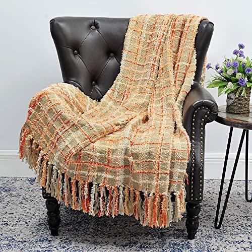 Home Soft Things Boon Multicolor Chenille sofá Manta, 50'x 60Pulgadas, Color Naranja