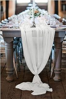 پوشش B-COOL 27x120 اینچ روبان و سفید نوعی پارچه ابریشمی روی میز تزئینات عروسی روستایی Boho Rustic تزئینات دوش عروس
