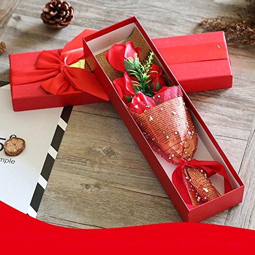 5 fleur de savon de bain de parfum de rose, boîte-cadeau pour l'anniversaire/anniversaire/mariage/conception de jour de la Saint-Valentin/fête des mères (violet) (Color : Red)