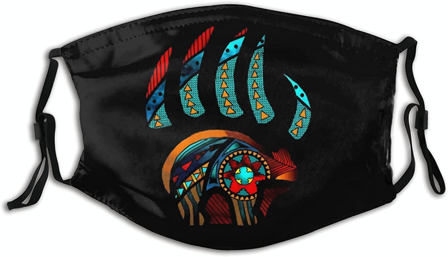 Native American Cloth Face Mask Washable Bandanas Balaclava Dust-Proof Reusable Mask with 2 Pcs Filters for Women Men