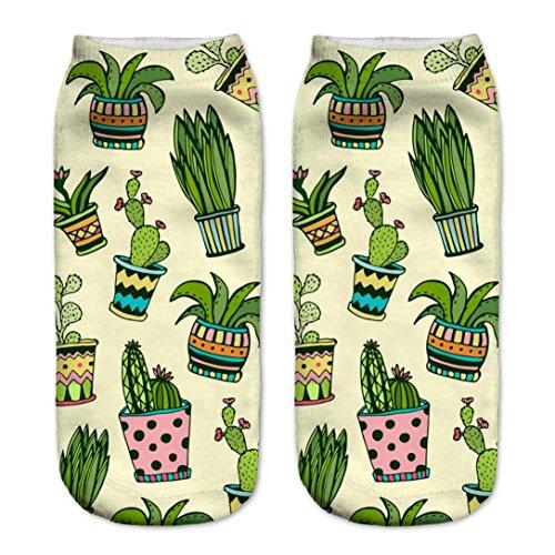 Amcool 1 Paar Unisex Kaktus gedruckt Low Cut Socken Knöchelsocken unsichtbare Socken