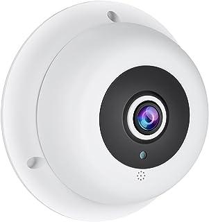 RevoTech HD 3MP Audio Ojo de pez IP Cámara H.265 1080P / 2MP para Interior 3 Gama LED panorámico de Visión Nocturna Cámara Seguridad ONVIF P2P CCTV Cámara con IR-Cut (IF04-Audio Blanco)