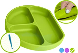 Babiere Silicone Toddler Plate – Powerful Suction Base Stays Put to Highchair – Grip Dish with Divided Sections – BPA & Toxin Free, Microwave & Freezer Safe – Free Silicone Baby Spoon – Green