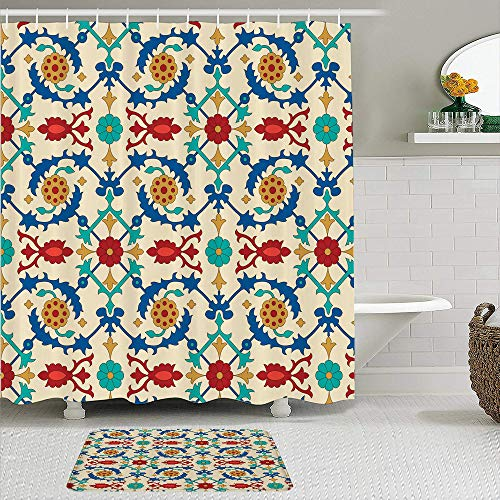 CVSANALA 2 Piece Shower Curtain Set with Non-Slip Bath Mat,Moroccan Nostalgic Eastern Art Motifs with Floral Ornaments with Baroque Inspiration Ethnic,12 Hooks,Personalized Bathroom Decor