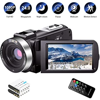 Amazon Com Video Camera Camcorder Full Hd 1080p 30fps 24 0 Mp Ir Night Vision Vlogging Camera Recorder 3 0 Inch Ips Screen 16x Zoom Camcorders Youtube Camera Remote Control With 2 Batteries Electronics