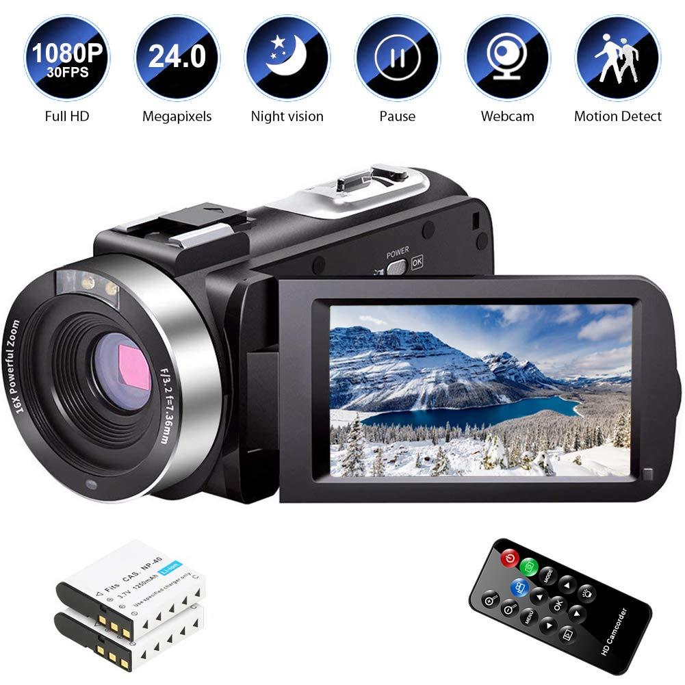Camcorder Vlogging Recorder Camcorders Batteries