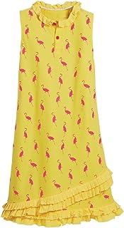 Beachcombers Flamingo Cotton Girls Polo Dress Yellow Large
