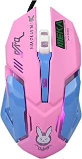 Lovely Wired USB Computer Mouse,7 Colors Backlit, Silent Buttons,3200 DPI,for MacBook,Computer PC, Laptop (D.VA Pink)