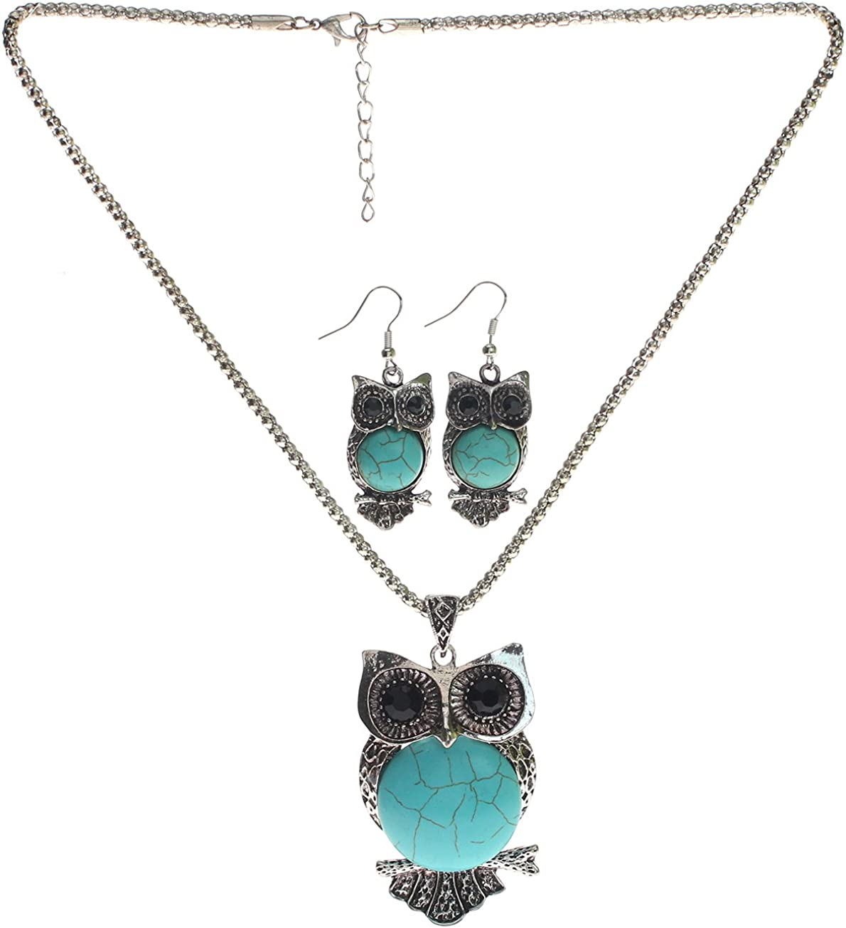 Lova Jewelry Owl Turquoise Necklace and Earrings Set