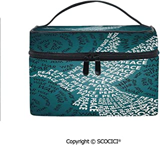 Printed Portable Travel Makeup Cosmetic Bag Dove Symbol of Peace Words over Stop the War Warfare Theme Abstract Art Durable storage bag for Women Girls