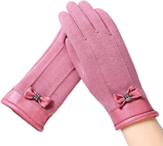 SGJFZD Women Autumn Winter Female Bow Gloves Fashion Touched Wrist Gloves for Women Touchscreen Glove Windbreak Gloves (Color : Pink, Size : OneSize)