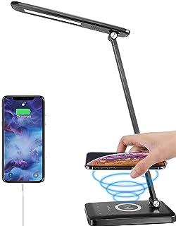 ANTELA Lámpara de escritorio negra con cargador inalámbrico, puerto de carga USB, 3 modos de iluminación con 5 niveles de brillo, control táctil, para el hogar y la oficina