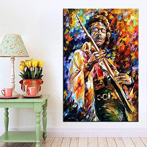 hetingyue Carácter Abstracto Moderno Arte de la Pared Lienzo Guitarra Cantante intérprete Imprimir póster Imagen Pintura Sala de Estar decoración del hogar 50x75 cm
