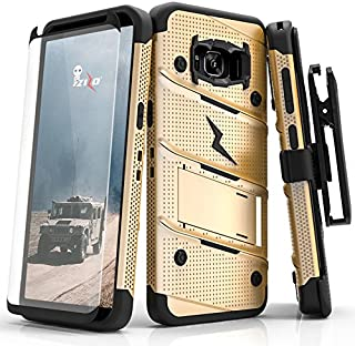 Samsung Galaxy S8 Plus Case, Zizo [Bolt Series] w/ [Galaxy S8 Plus Screen Protector] Kickstand [12 ft. Military Grade Drop Tested] Holster Clip - S8+ Gold/Black