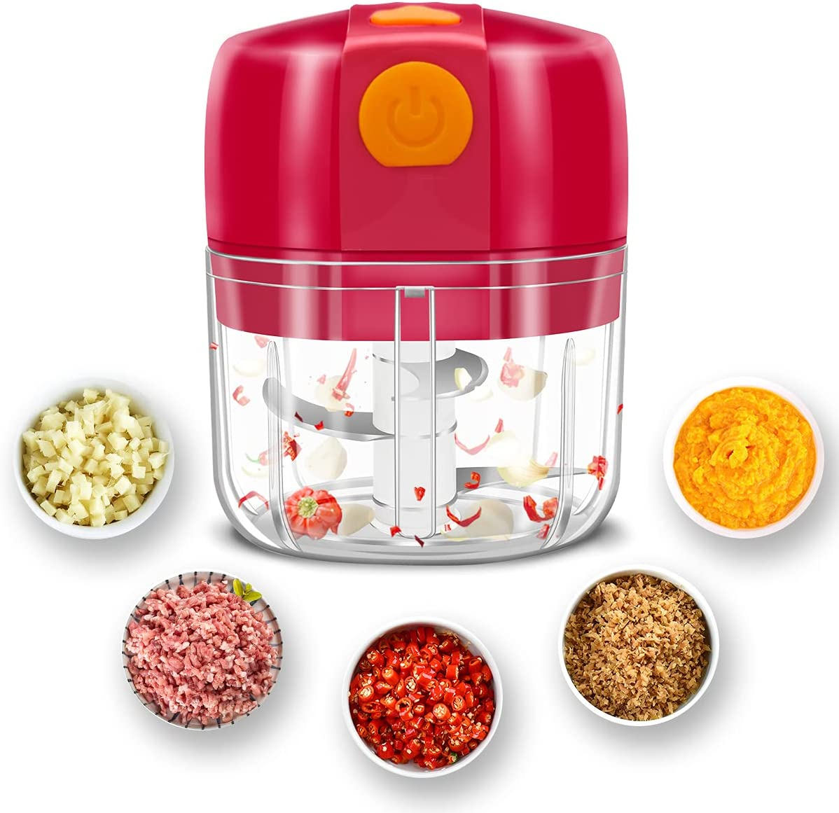 Electric Garlic Chopper Wireless Portable Mini Food Chopper 3 Blades Slicer Grinder for Chili/Onion/Vegetable/Nuts/Meat Small Food Processor Rechargeable Home Use Mini Garlic Masher Grinder