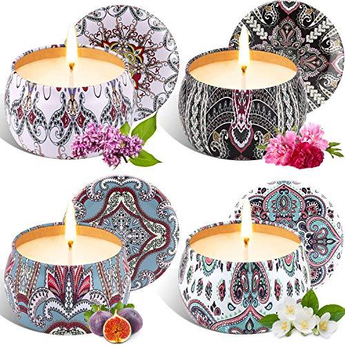Tobeape Natürliches Sojawachs Duftkerze Geschenkset, 4 Pack Aroma Kerzen Weihnachten, Aromatherapie Kerze Candle für Weihnachten, Bad Geburtstag Yoga Jahrestag Damen Geschenke