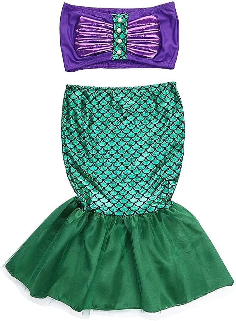 bikini con cola de sirena para playa WangsCanis Traje de ba/ño de sirena para ni/ña 3 piezas piscina y playa