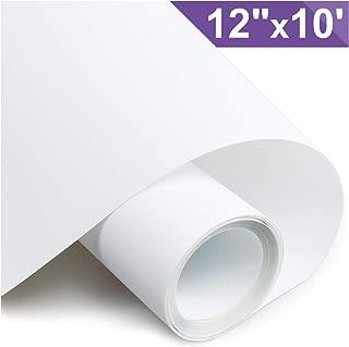 ARHIKY Heat Transfer Vinyl HTV for T-Shirts 12 Inches by 10 Feet Rolls (White)