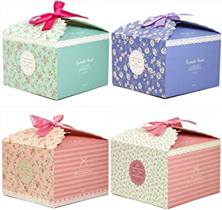 Twdrer Fold Gift Boxes Set of 24 Decorative Treats Boxes Cake Cookies Goodies Candy and Homemade Soaps Gift Boxes For Christmas, Holidays, Kids Birthday Baby Shower Guests Wedding Party Supplies.(With Color Ribbon, Floral Pattern)