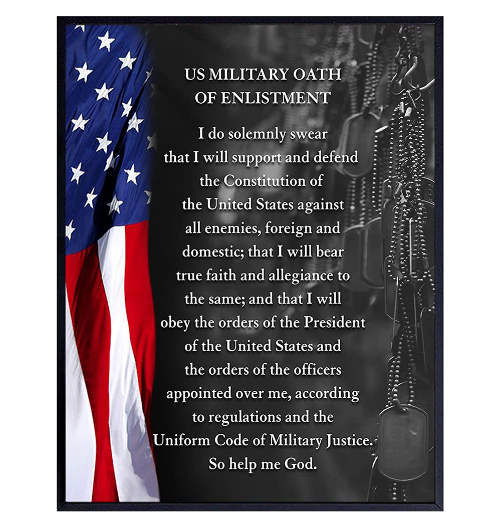 LARGE 11x14 - American Flag Wall Art - Oath of Enlistment - Patriotic Home Decor - Military Decor - Veteran Wall Decor - US Marine Corps Gifts - Army, Navy, Air Force, Men, Women - USA Americana