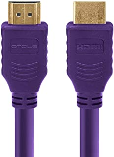 Cmple - HDMI Cable 3FT High Speed HDTV Ultra-HD (UHD) 3D, 4K @60Hz, 18Gbps 28AWG HDMI Cord Audio Return 3 Feet Purple