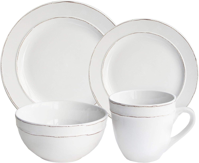 American Atelier Olivia Round In stock 16 White cheap Piece Dinnerware Set